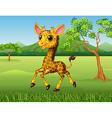 Cartoon funny giraffe running in the jungle vector image