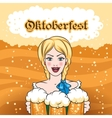 Girl with Beer Mugs Emblem vector image
