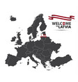 map of europe with the state of latvia vector image