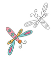 Outlined hand drawn dragonfly vector image