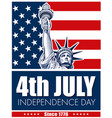 statue of liberty usa flag nyc fourth of july vector image