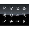 Zodiac icons on black background vector image