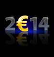 new year 2014 metal numerals with euro instead of vector image vector image