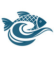Fish on the water waves vector image