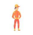 car racing driver man in an orange uniform member vector image