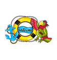 parrot with lifebuoy and anchor icon vector image