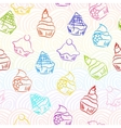 Seamless cupcake background vector image vector image