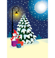 christmas gifts under the tree vector image vector image