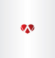 letter w heart logotype sign vector image