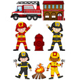 Fire fighters and other equipments vector image vector image