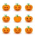Cute pumpkin faces set vector image