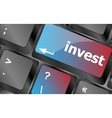 Hot key for investment - invest key on keyboard vector image