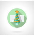 Round flat icon for Christmas tree vector image