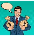 Smiling Businessman Holding Money Bags Pop Art vector image