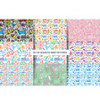 Set seamless Baby patterns vector image