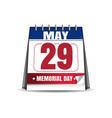 memorial day 2017 29 may desk calendar vector image