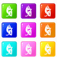 macaque on a tree icons 9 set vector image