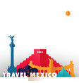 travel mexico country paper cut world monuments vector image
