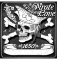 Black Pirate Cove Flag - Jolly Roger vector image
