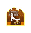 Bartender Pouring Beer Keg Cityscape Retro vector image
