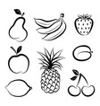 fruit icon set doodle line dessert collection vector image