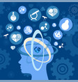 human head thinking about science and earth planet vector image