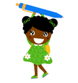 Little cute dark skin girl holding pen vector image