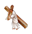 Side view of Jesus Christ holding cross vector image