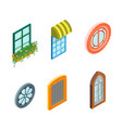 windows set isometric view vector image