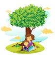 Girls reading under Tree vector image vector image