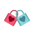 Blue and pink padlocks with heart icon vector image
