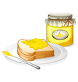 A plate with a bread and a jar of banana jam vector image vector image