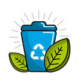 can of recycling with leaves icon vector image