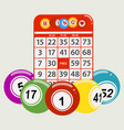 drawning style bingo balls and red card background vector image