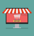 shopping online by computer vector image