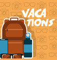 vacations backpack mobile sunglasses bottle vector image