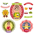 Healthy Food Menu Colorful Labels vector image vector image