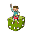 Close-up of boy sitting on dice vector image vector image