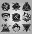 premium blacksmith emblems set vector image