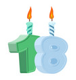 18 years birthday number with festive candle for vector image