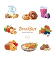 Cartoon breakfast food icons set vector image