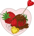 Chocolate Covered Strawberries and Hearts vector image