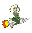 Comic cartoon army pin up girl riding missile vector image