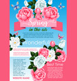spring flower wreath greeting poster template vector image