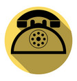 retro telephone sign flat black icon with vector image