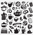 tea cups and sweets doodles vector image