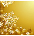 Golden Christmas snowflakes background vector image