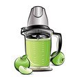 drawing color kitchen blender with apple juice vector image vector image