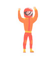 car racing driver man in an orange uniform and vector image