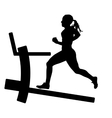 Silhouettes girl running on the treadmill vector image